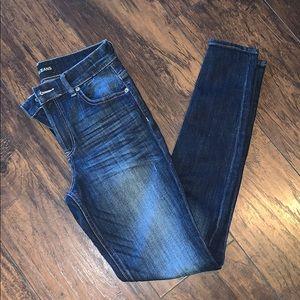 Express dark wash high rise legging jeans size 4